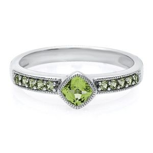 Peridot Stack Ring in Sterling Silver 6.5 August